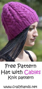 Knitted hat for winter made of wine colored yarn – Knitting: Hats with Cable