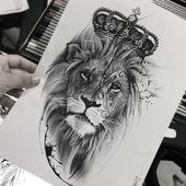Tätowierungen für Männer, Löwe Tattoo Vorlage, Löwe Tattoo für Männer, Löwe Tattoo Mo…