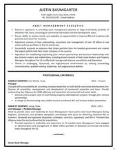Asset Management Resume Example | Asset Management, Resume Examples And  Management  Asset Management Resume
