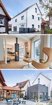 Schmales Stadthaus modern mit Satteldach Architektur & Erkererweiterung mit Holzfass …   – Haus Design