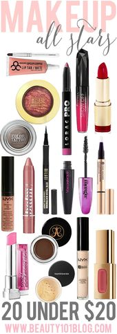 Top 20 makeup products priced $20 and under. Great…