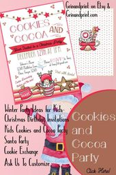 Cookies and Cocoa / Cookies and Cocoa Invitation / Cookies and Cocoa with Santa Invitation / Cookies and Cocoa Birthday / Winter Birthday