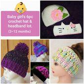 CLEARANCE! Baby Girl's 6pc Hat & Headband Lot – 3-12 Months – Hello Kitty Headband – Baby's Purple Pompom Hat – Baby's Pink/Black Beanie – crocheting