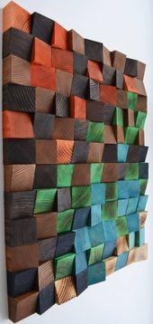 Wood wall art, Reclaimed Wood Art, Mosaic wood art, Geometric wall art, Rustic w…