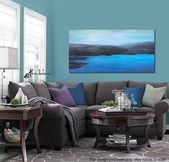 Dark gray & blue ocean painting, Seascape canvas art print, For coastal bedroom, living room wall art, and men's decor