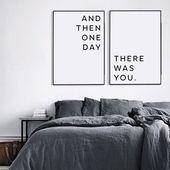 Décorations murales de chambre à coucher principale, art mural imprimable, au-dessus de l'art du lit, citation d'amour imprimable, affiche Scandinave