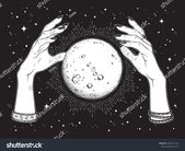 Hand drawn full moon with rays of light in hands of fortune teller line art and … – Announcement Cards