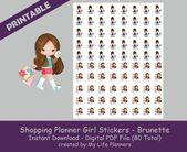Shopping Planner Girl Sticker, Brunette, Printable Stickers, Planner Stickers, Happy Planner, Erin Condren, PDF Digital Download