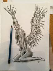 Engel Tattoo Bleistiftzeichnung