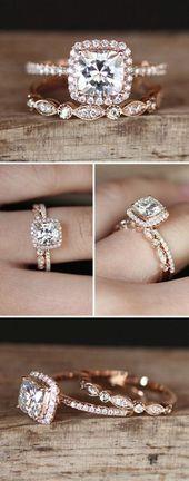 Rose Gold Engagement Wedding Ring Set. Cushion-shaped Halo wedding rings Rose gold …   – Ringe