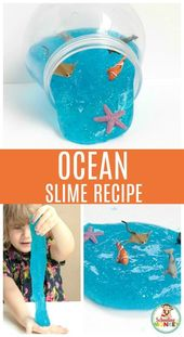 DIY Slime Ocean Slime Recipe! A fun DIY slime activity for kids to play with this summer o...