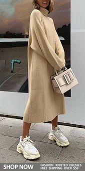 Women's Solid Color Knit Long Dress