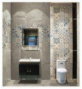 Some bath room tiles idea, love the   grey tiles.