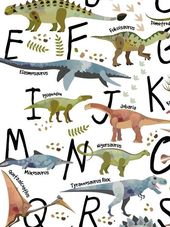 Dinosaur nursery prints, watercolor dinosaur, dinosaur canvas, printable alphabet poster   – ETSY Printable Art
