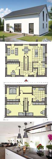 Einfamilienhaus modern mit Satteldach Architektur & 5 Zimmer Grundriss, 150 qm, …