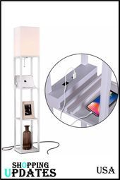 Shelf Floor Lamp With Usb Charging Ports Electric Outlet Tall Narrow Tower Nightstand For Bedroom Mo In 2020 Floor Lamp With Shelves Cheap Floor Lamps Floor Lamp