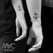 "MAC FINELINE on Instagram: ""Some people want to crown their love with a partner tattoo … I'm not saying no :) #partnertattoo #anchor #achortattoo # ink…"""