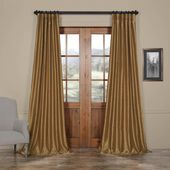 Exclusive Fabrics & Furnishings Semi-Opaque Flax Gold Vintage Textured Faux Dupioni Silk Curtain – 50 in. W x 96 in. L (1 Panel)-PDCH-KBS8-96
