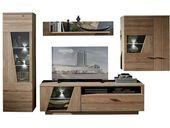 Wohnzimmerausbauwand aus Wildeiche, teils solide LED-Beleuchtung (4 Teile)   – Products