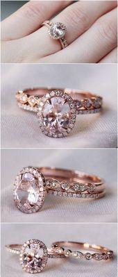 Anillo de compromiso con halo de oro rosa – Joyas    Moda – #Moda #Oro #Halo #Ros …   – Ringe Ideen