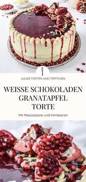 Granatapfel weiße Schokolade Pie Rezept für super leckere weiße Schokolade …   – Julias Torten und Törtchen