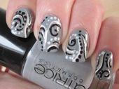 black, white, and gray nail design