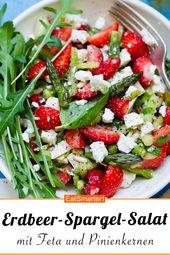 Salada de morango e aspargos com queijo feta e pinhões   – Spargelsalate