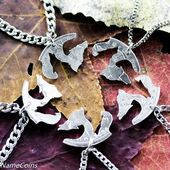 Wolf Pack, 5 Best Friends Necklaces, Friends or Family Necklaces, BFF gifts, hand cut coin
