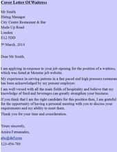 Waitress Cover Letter Sample  HttpResumesdesignComWaitress