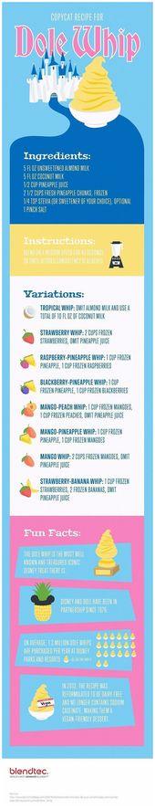 Dole Whip Copycat Infografik, die das Rezept eine Reihe von Variationen mit …