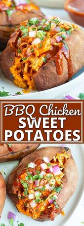 BBQ Chicken Stuffed Sweet Potatoes are an easy, healthy, gluten-free, and dairy-…