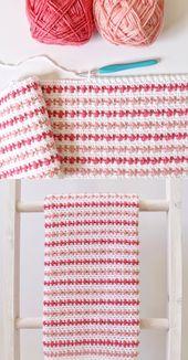 Baby Blanket Free Pattern - Crochet Puff Stripes Baby Blanket
