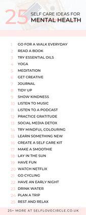 50 Self Care Ideen für die psychische Gesundheit