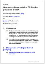 Deed Of Guarantee Of Contract Debt With Option For Changed Terms