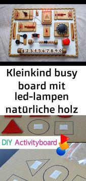 Kleinkind busy board mit led-lampen natürliche holz personalisierte riegel board motorische entwi 23