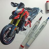 #ducati #hypermotard #copic #marker #motorcycle #drawing