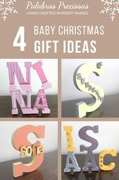 Baby Christmas Gift, Unique Baby Gift, Personalized Baby first Christmas gift, Nursery Name Sign, Custom Monogram, Free Standing Letter – Toddler Christmas Ideas