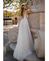Sexy Romantic Vestido De Noiva 2019 High Slit Wedding Dresses V-Neck Wedding Gown White Bridal Dress