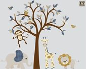 Boy Room Wall Decal, Kinderzimmer Wandtattoo, Jungle Animal Wandtattoo, Denim Farbe, Safari Animal Nursery, XXL Denim II Design   – animals