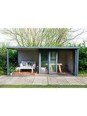 Kran 3 x 3 m Gartenstudio, FSC-zertifiziert (Scandinavian Redwood), Shale – #gar …   – Pultdach Anbau