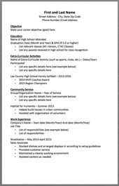 Basic Resume Template First And Last Name Street Address City State Zip Code Phone Number Email High School Resume Template High School Resume Basic Resume