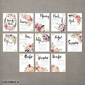 Wall calendar 2019, 11×14, monthly wall planner, watercolor flower gifts for her (cal0001)