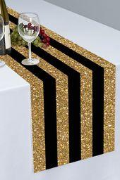 Black and Gold Stripes Printed Cloth Table Runner – PTR122 – Centro de mesa con velas