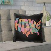 Wrought Studio Longmeadow Indoor/Outdoor Throw Pillow Color: Poppy Red/Black, Size: 22″ H x 22″ W