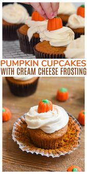 Kürbis Cupcakes mit Frischkäse Zuckerguss machen das perfekte Dessert für …