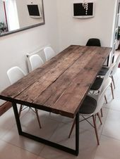 Recovered Industrial Chic 6-8 Seater Dining Table – Bar Cafe Restaurant Furniture Steel Solid Wood Metal Customized 242