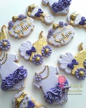 20+ Ideen für Babyparty Cookies für Mädchen Lila   – Lynda's girl baby shower