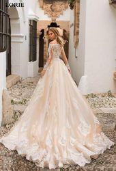 LORIE Champagne Mermaid Bröllopsklänning Långärmad Spets Applikationer Avtagbar tåg Bröllop Brudklänning Off-Shoulder Bröllopsklänningar