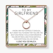 Gift for Girlfriend from Boyfriend Necklace: Anniversary, Valentine's Day, Birthday, Christmas, Thank You,Love You Present, 2 Linked Circles