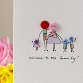 Baby Cards Personalised 'Button Family' Hand Illustrated Card #button #family #illustrated ...